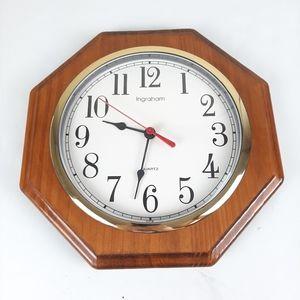 "11"" Wood Grain Octagon Wall Clock Gold Trim Clock"